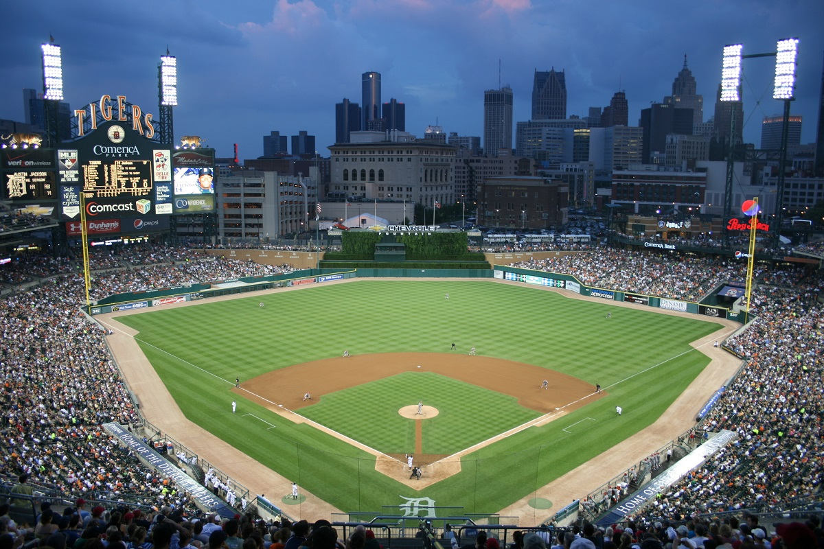 Aerial view of Comerica Park