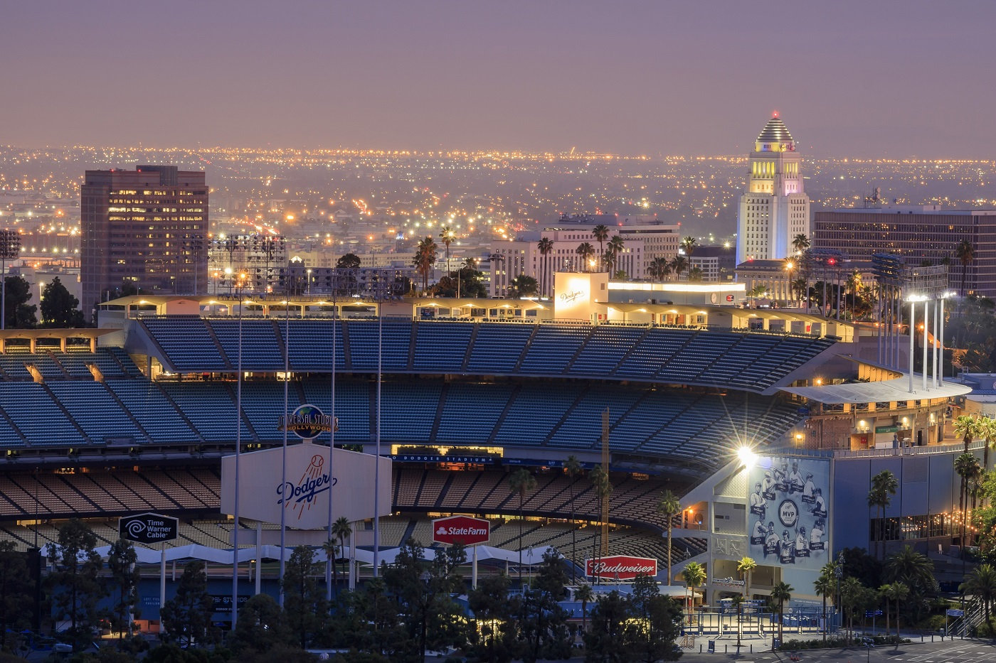 Aerial View of Dodger Stadium Twilight
