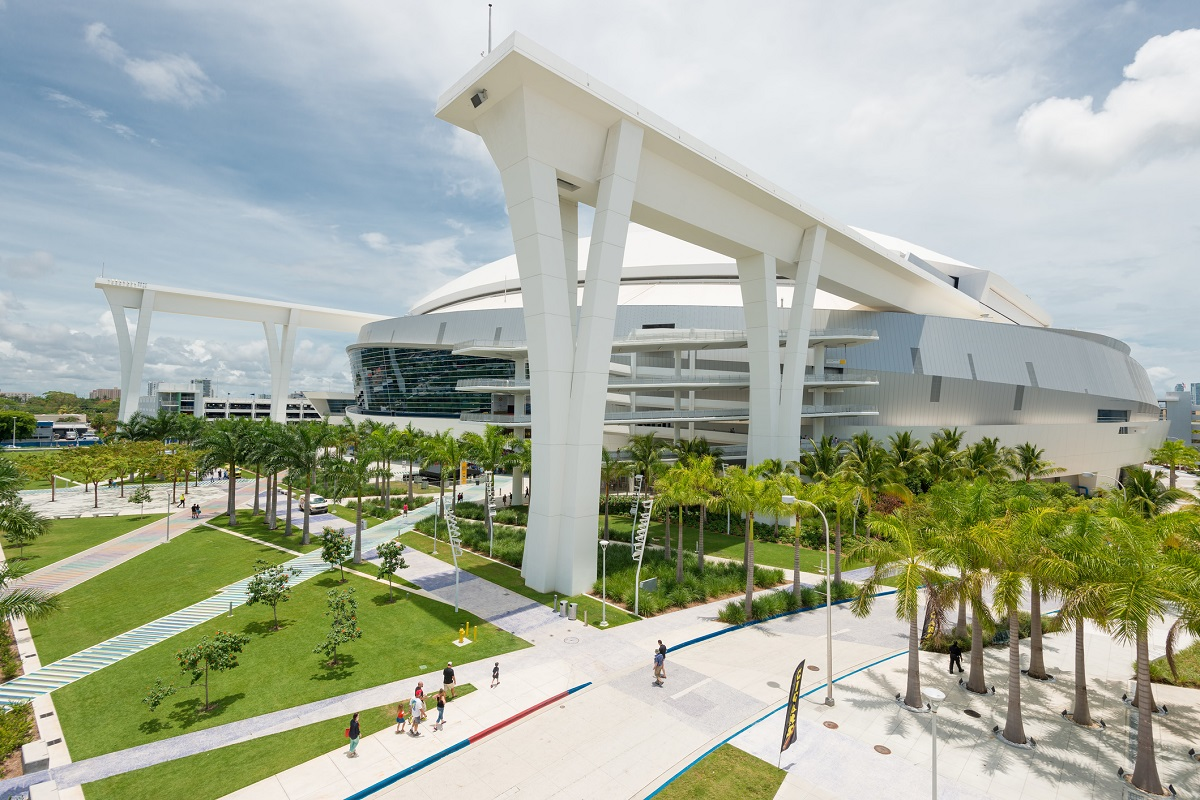 The Miami Marlins stadium in Miami Outside