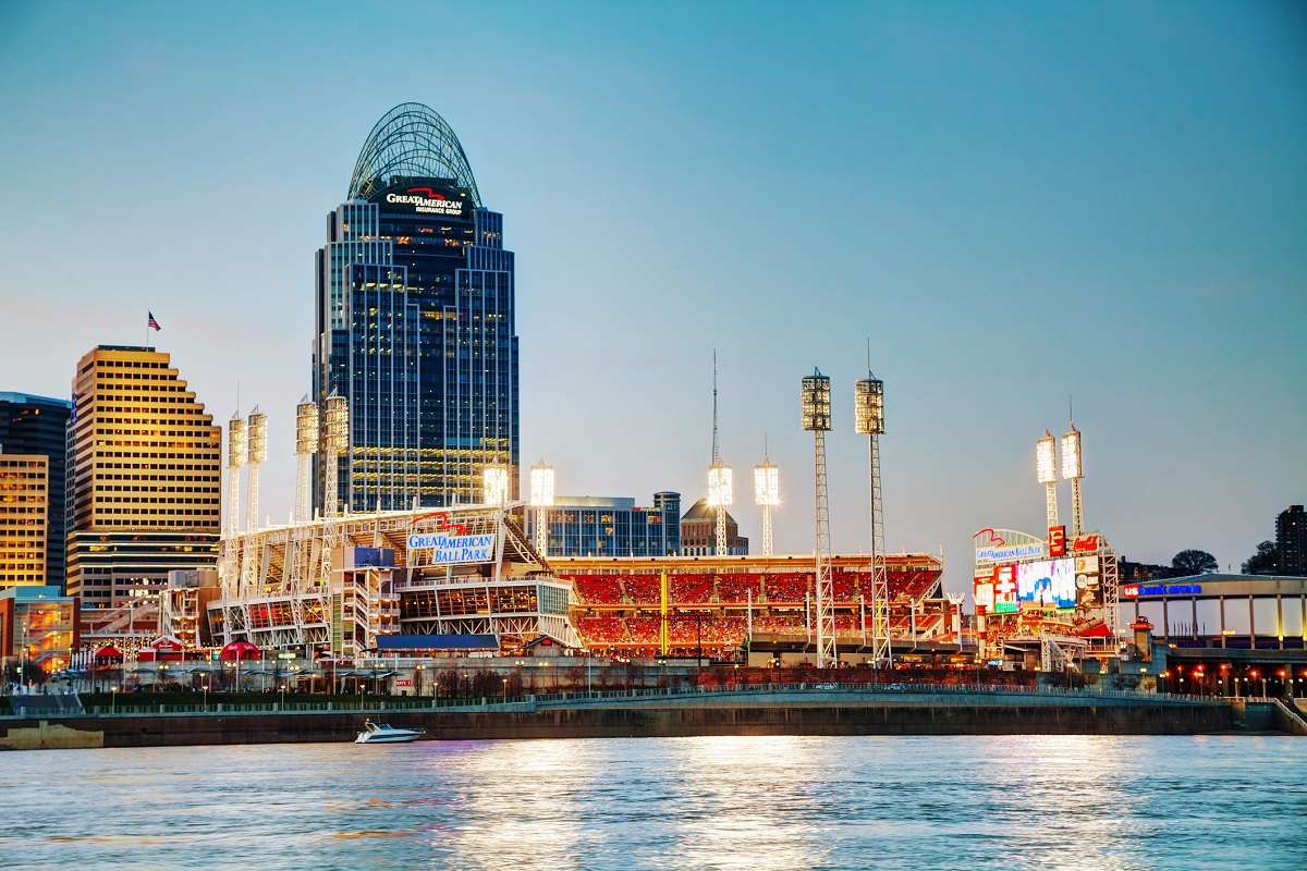 View of the Great American Ball Park from the Ohio River