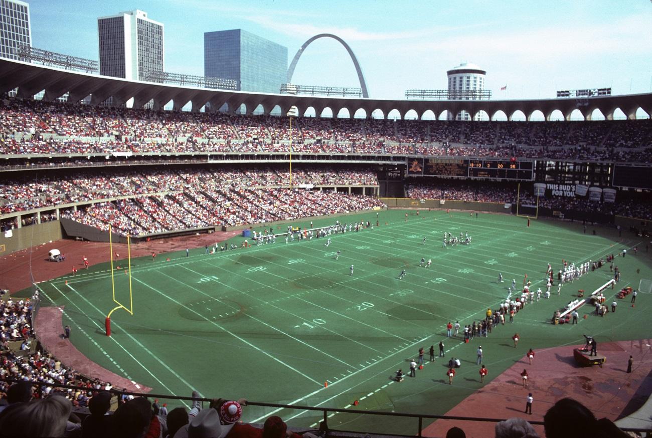 Busch Stadium Set up for Football