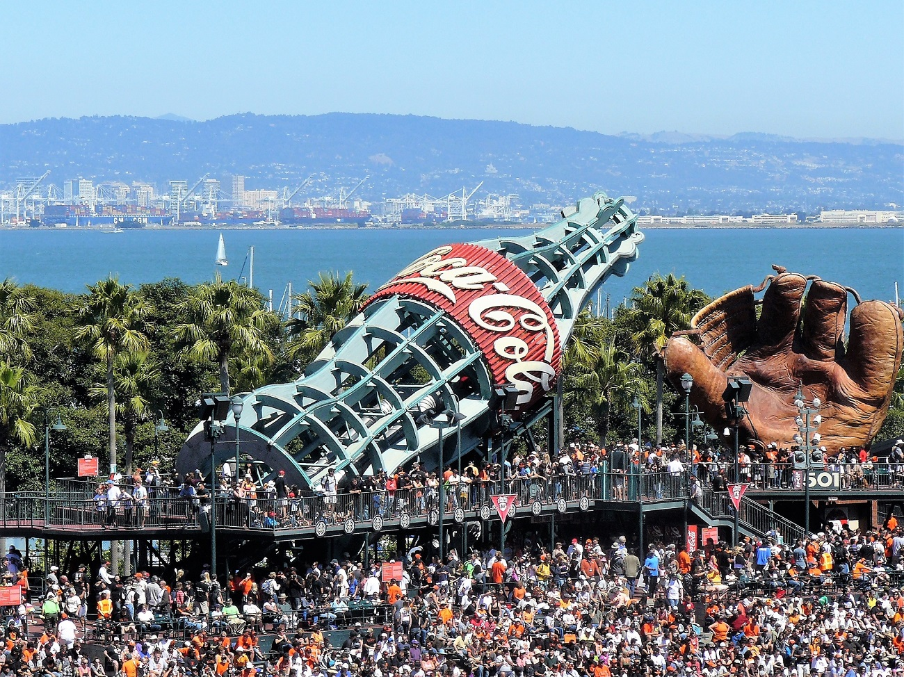 Giant Coke Bottle and Mitt at Oracle Park