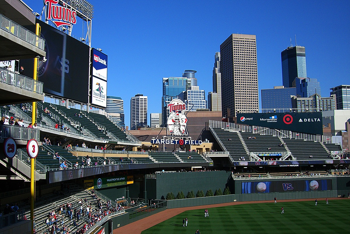 Target Field Overlooking The City Skyline