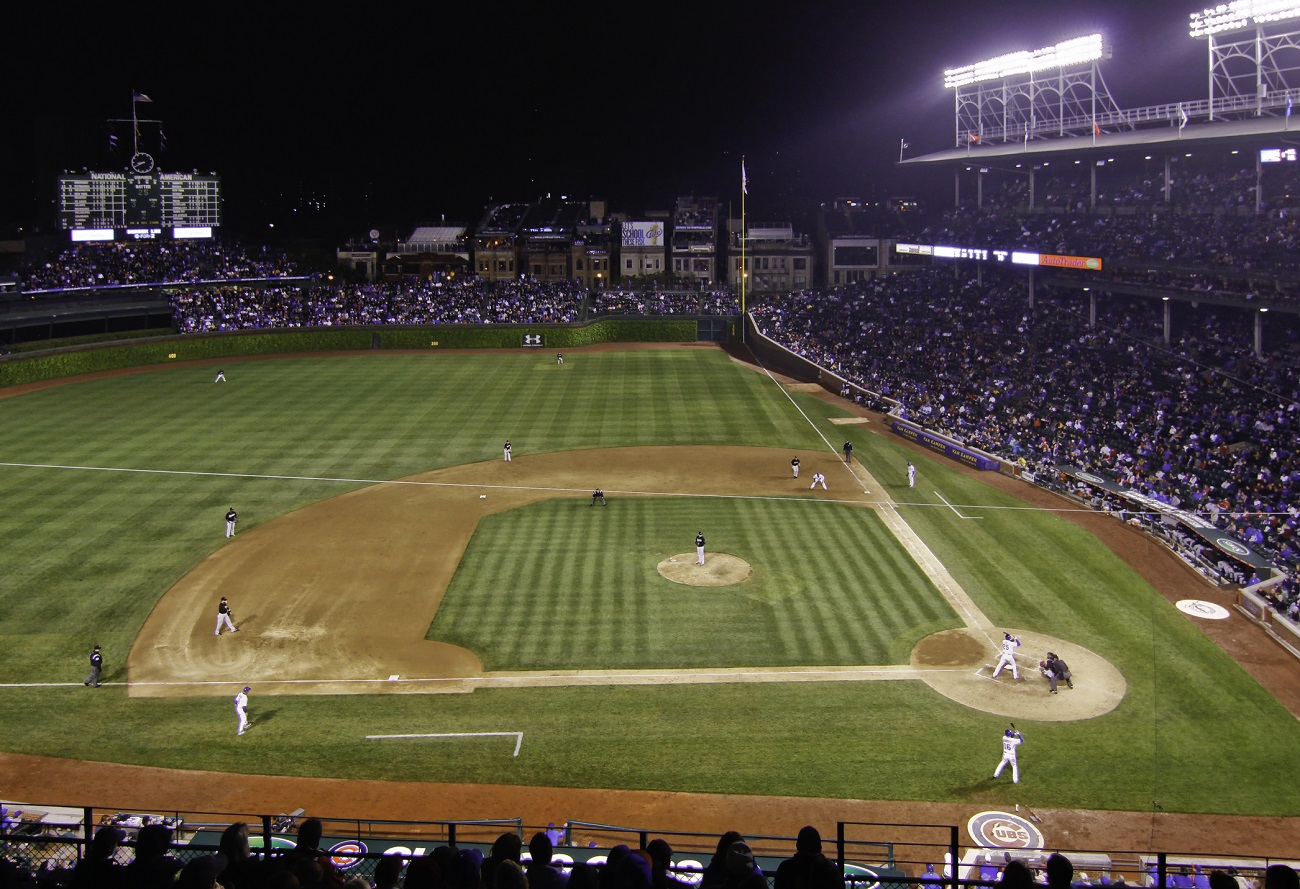 Night game at Wrigley Field