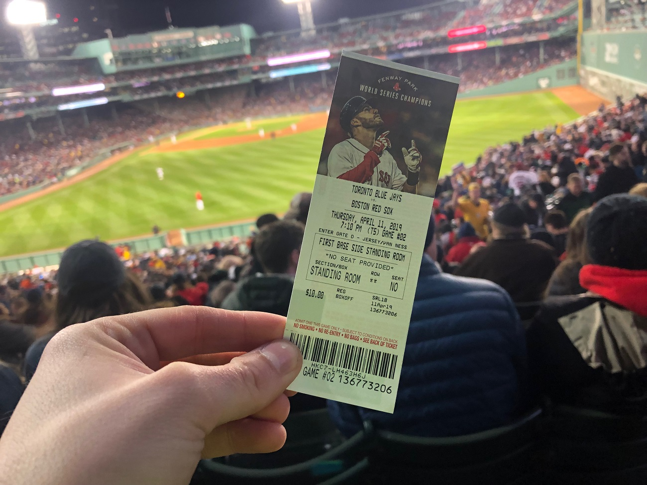 Standing Room Only Ticket at Fenway Park