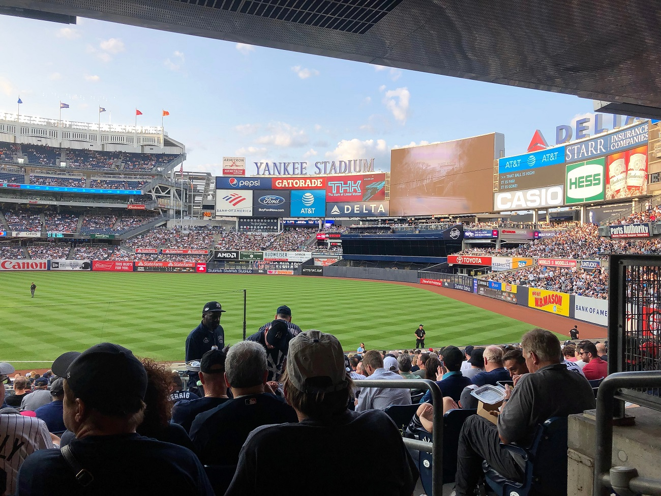 Bleachers Creatures out in right field at Yankee Stadium