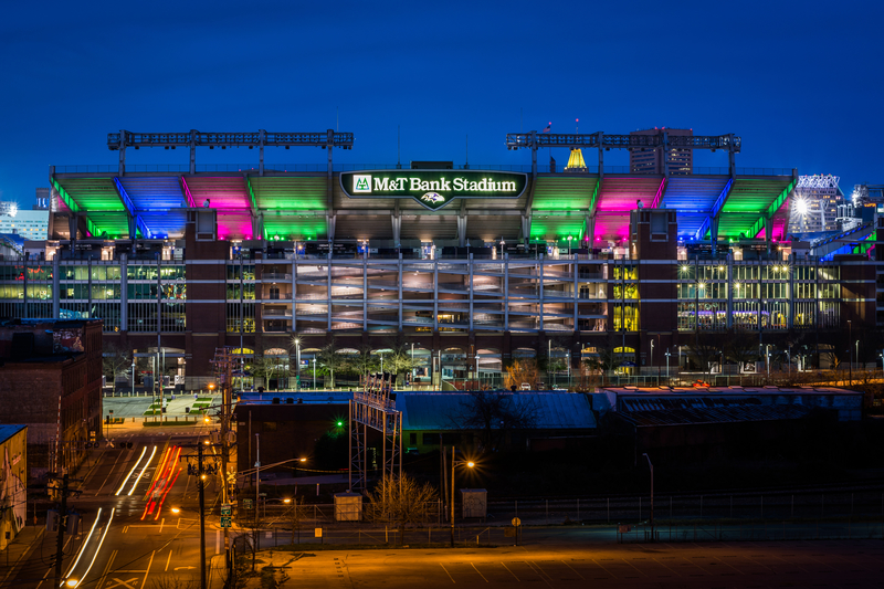 The M&T Stadium at night, in Baltimore, Maryland.