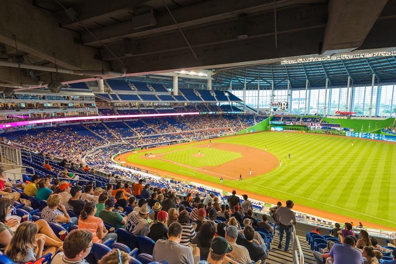 Fans watching a baseball game at the Miami Marlins Stadium