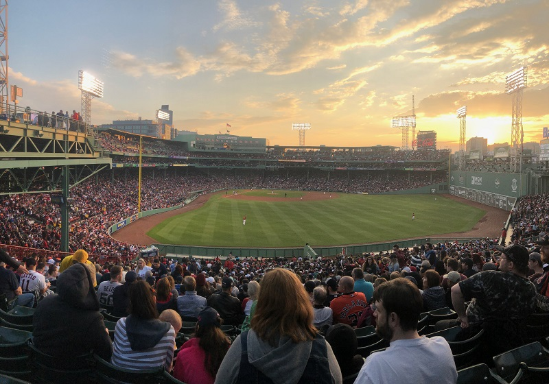 Sunset at Fenway Park in the Bleachers