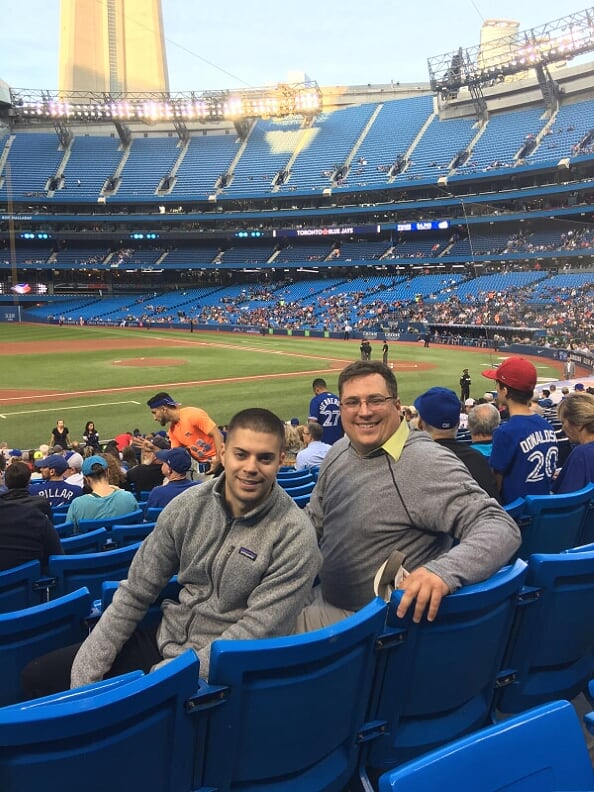 Mike and Greg Sitting at Rogers Centre