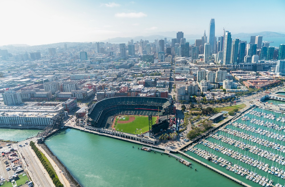Aerial view of San Francisco skyline on a beautiful sunny summer